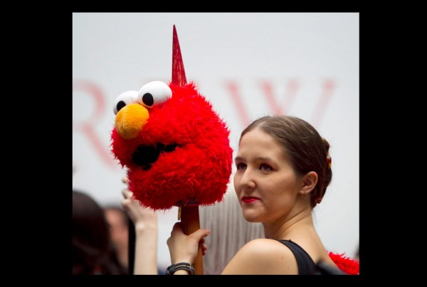 Angelica Pendleton of Gorham attends the PortConMaine Convention dressed as the Elmo Slayer.
