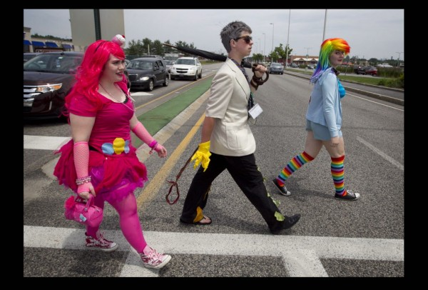 PortConMaine convention-goers cross the Maine Mall Road last weekend in South Portland.