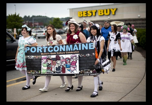 Anime fans parade march to the Maine Mall last Saturday for PortConMaine's fashion show.