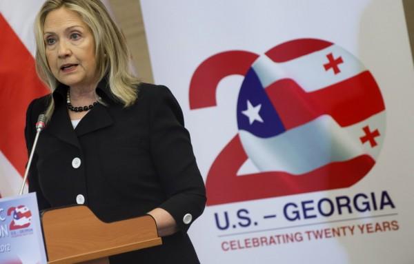 US Secretary of State Hillary Rodham Clinton addresses the US-Georgia Strategic Partnership Commission in Batumi, Georgia Tuesday June 5.
