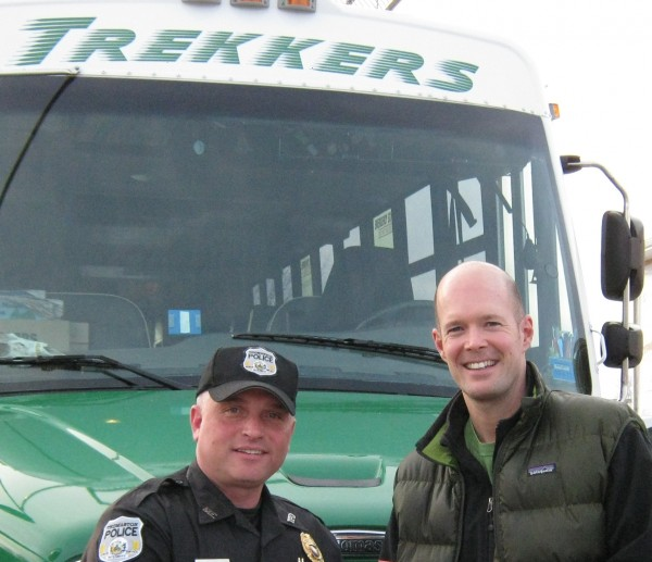 Officer Tim Hoppe of the Thomaston Police Department and Trekkers Executive Director Don Carpenter
