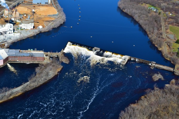 Great Works dam aerial photo from April 13, 2012.