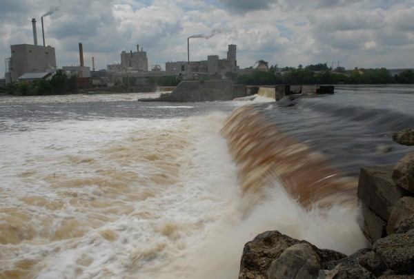 Great Works Dam, viewed from the Bradley side of the Penobscot River, on June 30, 2009.