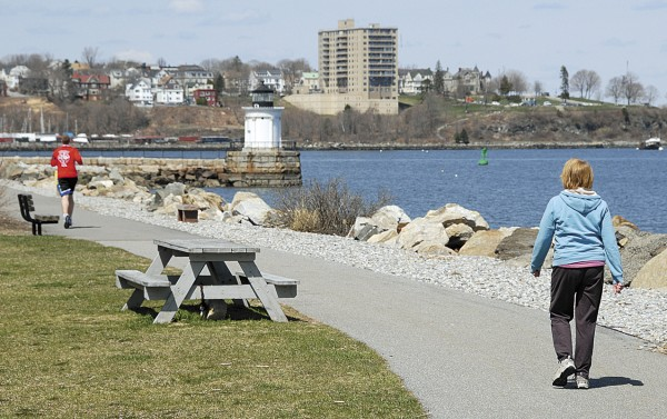 Outdoor recreationists enjoy the fresh air at Bug Light Park in South Portland. Known as the South Portland Greenbelt Walkway, a paved trail connects the park to the Wainwright Recreation Complex 5.7 miles away.
