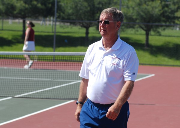 Ellsworth tennis coach Brian Higgins is shown before a match against Hermon on June 1, 2012. Higgins celebrated his 600th victory Friday afternoon.
