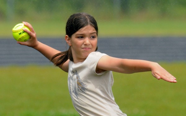 Jessica Cobb of Greenville competes in the 9-10-year-old girls softball throw  during the Hershey Track & Field Regional Meet in Brewer Tuesday. Cobb's best throw was 64 feet, 6 inches.