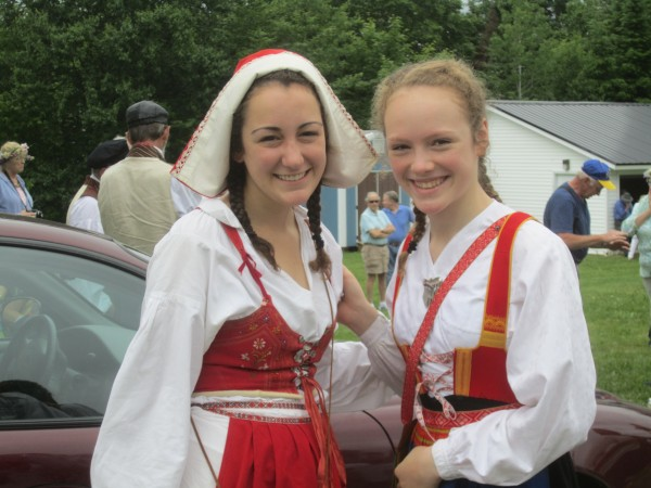 People of all ages dress in traditional Swedish clothing for the 2012 New Sweden Midsummer Festival.