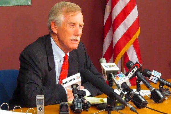 Angus King, independent candidate for the U.S. Senate, announced on Wednesday, June 13, 2012, that he will pledge not to benefit from super-PAC money during the campaign if the other candidates in the race do the same.