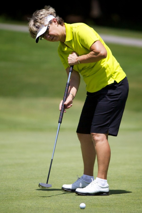 LPGA Legends Tour golfer Sherri Turner makes a put at the Hannaford Community Challenge Tournament in Falmouth Sunday, June 24, 2012. Turner won, coming in six under par.