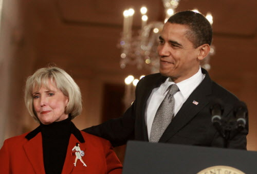 President Barack Obama shares a stage with Lilly Ledbetter last winter, whose story led to a renewed debate about the Fair Labor Standards Act's protections against pay inequities based on gender.