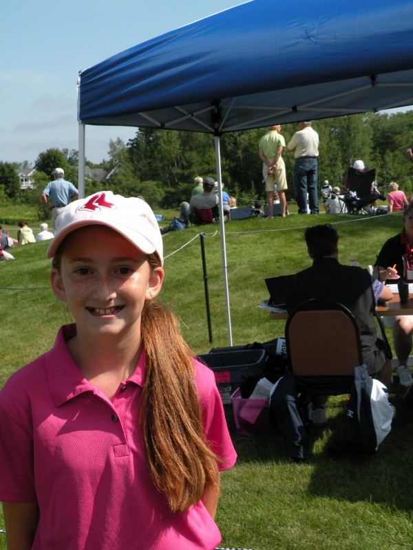 Janelle Bryant, 12, of Gray was one of 20 junior golfers from the First Tee of Maine who played alongside touring pros during the first round of the LPGA Legends Hannaford Community Challenge at Falmouth Country Club on Saturday, June 23, 2012.