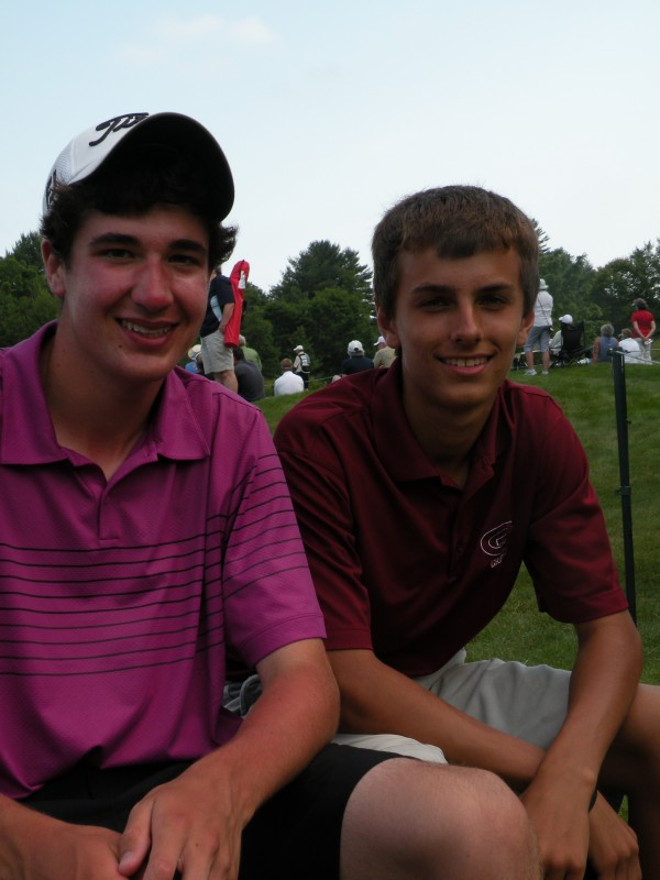 Seventeen-year-old Kyle Megathlin (left) and Nick Plummer, 16, both of Cumberland, were two of 20 junior golfers from the First Tee of Maine who played alongside touring pros during the first round of the LPGA Legends Hannaford Community Challenge at Falmouth Country Club on Saturday, June 23, 2012.