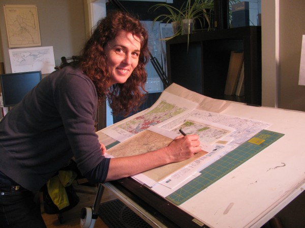 Margo Carpenter of Hartdale Maps at work in Belfast recently.
