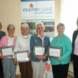 Pictured are L-R:  Cathy Planchart, AVP Bar Harbor Bank & Trust, Volunteers   Margaret Edgecomb, Sandra DeWitt, Sylvia Allen and Dianne Kelley and MCMH Board Chair Rebecca Sargent.