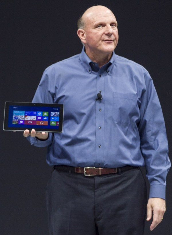 Microsoft CEO Steve Ballmer unveils the Surface, a tablet computer aiming compete with Apple's iPad.