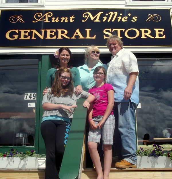 Aunt Millie's General Store is a family affair for owners Laurie Baird and Belden Morse, daughter June Baird and granddaughters Lily and Rowan Morgan. The cafe and general store opened earlier this month in Jonesboro, resurrecting what for many years had been a landmark in the tiny Washington County community.