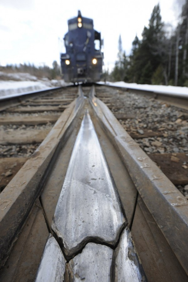 This fractured &quotfrog&quot on Montreal, Maine & Atlantic Railway could be seen in front of one of the railway's trains as it made a stop to pick up more freight in Masardis in 2010. A frog is a railway switch that enables trains to move from one track to another at a railway junction.