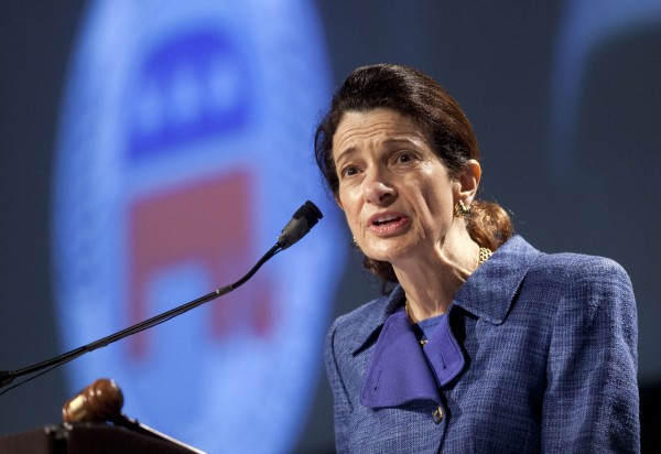 Sen. Olympia Snowe, R-Maine, speaks at the Maine Republican Convention at the Augusta Civic Center in Augusta in May 2012.