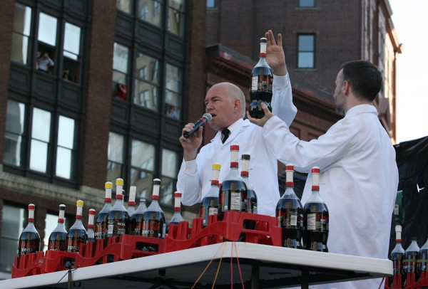 The Coke and Mentos guys, Steven Voltz (left) and Fritz Grobe (right) speak before the start of the Extreme Diet Coke and Mentos Experiments on Thursday, June 28, 2012 in Monument Square in Portland. The performance involved over 100 bottles of soda and over 600 Mentos candies.