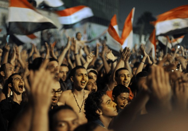 Egyptians celebrate the victory of Mohammed Morsi in the presidential elections, at Tahrir Square, in Cairo, Egypt, Sunday, June 24, 2012.