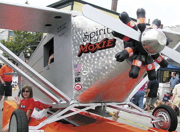 Designed to resemble Charles Lindbergh's &quotThe Spirit of St. Louis,&quot this float in the Moxie Festival Parade in Lisbon was called &quotThe Spirit of Moxie.&quot