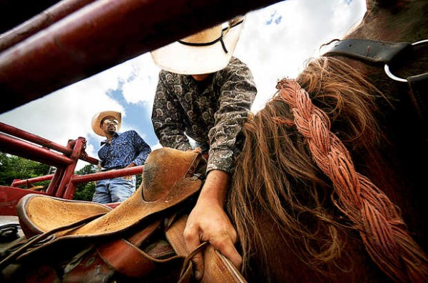 Justin &quotSugar&quot Bailey, right, adjusts his saddle on Anderson as chute boss Nate &quotSnowflake&quot Grogan watches during final preparations for bronc riding Thursday in Hebron at the site of this weekend's Redneck Rodeo.