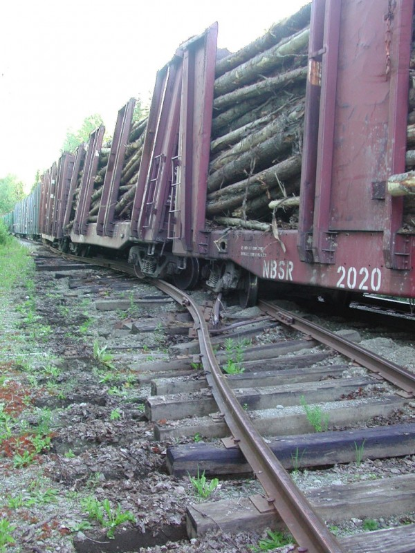 A northbound log-laden train of the Montreal, Maine and Atlantic Railroad went off the tracks in Wallagrass in 2005. Two cars were off the rails, and railroad ties and rails were moved up to six feet at a junction in the tracks.