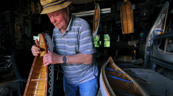 Euclide &quotJoe&quot Lavoie of Milford built canoes for White Canoe for two decades and then worked for Old Town Canoe Co. for another 20 years. Now, at age 90, he builds model canoes that are made the same way as the original canvas-on-frame White and Old Town boats. &quotThis is what keeps me going. I build a handful of them each year and they still sell them at Old Town Canoe.&quot