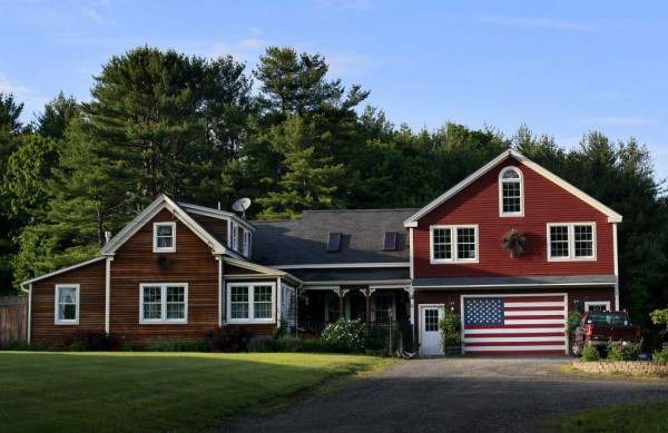 A garage door is the perfect dimension for an American flag in Freeport recently.