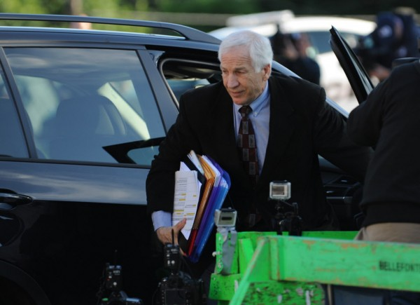 Former Penn State University assistant football coach Jerry Sandusky arrives for the third day his trial at the Centre County Courthouse in Bellefonte, Pa., Wednesday, June 13, 2012.  Sandusky faces 52 counts of child sex-abuse  involving 10 boys over a 15-year span
