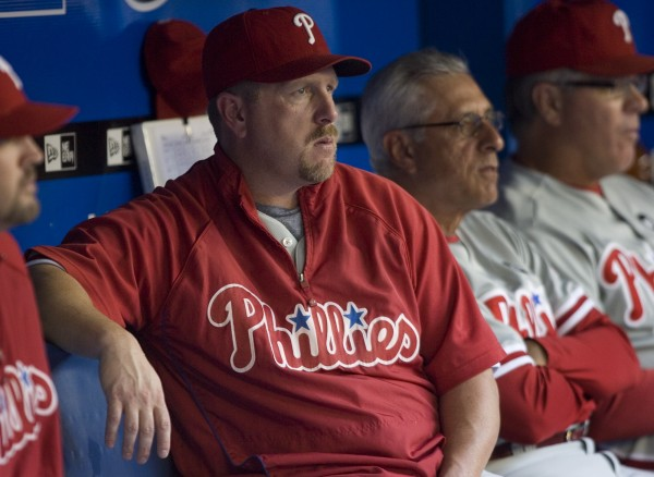 Matt Stairs sits in the Phillies' dugout during interleague baseball game action against the Blue Jays in Toronto on Friday, June 26, 2009.