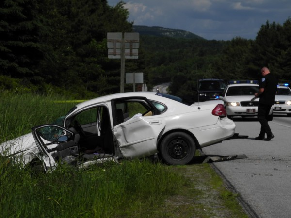 A white car and a silver vehicle, not pictured, collided just before 1 p.m. Saturday, June 9, 2012, on Route 1 near the junction with Route 175. One person has died, a Hancock County Sheriff's Office official has said.