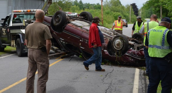 Pittsfield police and state police responded to a vehicle rollover shortly before 1 p.m. Tuesday, June 26, 2012.