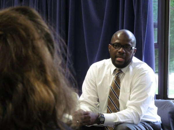 Emmanuel Caulk, an assistant superintendent in the Philadelphia public school system, meets with teachers, parents and administrators in a public discussion Tuesday evening, May 29, 2012, at Casco Bay High School.