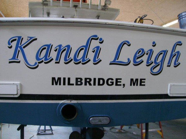 """Kandi Leigh,"" a 28-foot lobster boat purchased by Capt. James Robertson in 2012, is named after his wife, Kandi Robertson, and is the boat he uses for his family business Robertson Sea Tours."