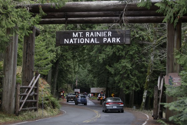The west entrance to Mount Rainier National Park is shown in this Jan. 1, 2012 file photo taken in Washington State. A Mount Rainier ranger slid more than 3,000 feet to his death Thursday, June 21, 2012 as he helped in efforts to rescue four injured climbers who fell on a glacier, a National Park Service spokesman said.