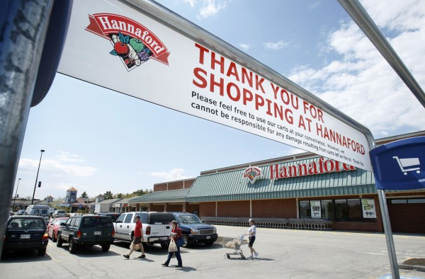 Shoppers leave a Hannaford grocery store in Topsham in 2009.