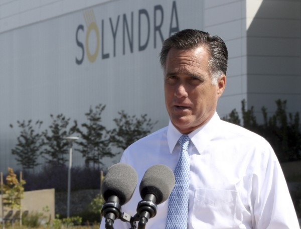 Republican presidential candidate Mitt Romney speaks outside the Solyndra manufacturing facility in Fremont, Calif., on May 31, 2012.