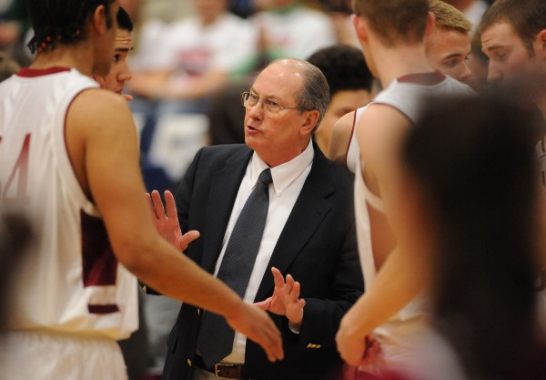 Bangor High School boys basketball coach Roger Reed works with his team during a game in February 2008. Reed won the Republican primary for House District 23 Tuesday, one day after he reluctantly resigned his coaching post.