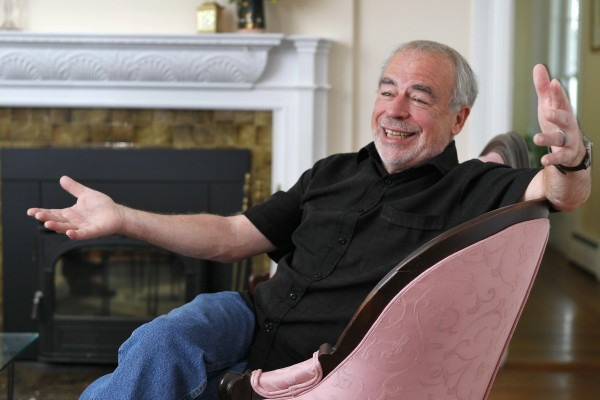 Pulitzer Prize-winning novelist Richard Russo discusses his newest work, &quotInterventions,&quot at his home in Camden on Thursday, June 14, 2012. A critic of e-books, Russo won't allow &quotInterventions&quot to be sold in electronic form.
