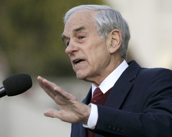Republican presidential candidate Rep. Ron Paul, R-Texas, speaks at the University of California at Berkeley, Calif., on April 5.