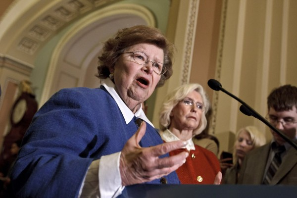 Sen. Barbara Mikulski, D-Md. (left), accompanied by Lilly Ledbetter, the woman who has been the symbol for the workplace equality movement, speaks to reporters during a news conference on Capitol Hill in Washington, Tuesday, June 5, 2012, as the Senate considers the &quotPaycheck Fairness Act.&quot