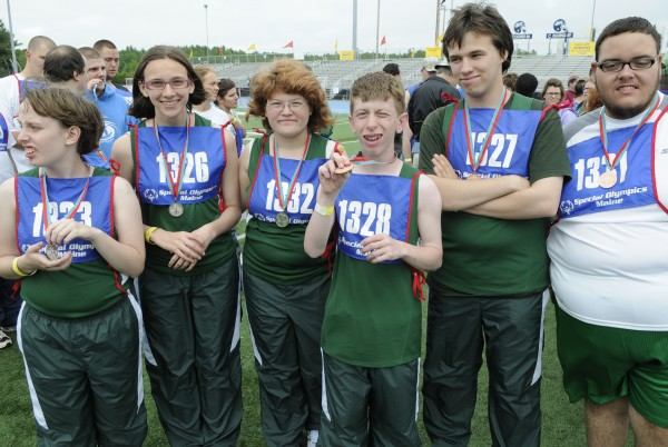 The Mount View Middle School team stand tall and proud after receiving their medals in the 4x100 meter relay Friday, June 8, 2012 at the Maine Special Olympics Summer Games. The games take place at the University of Maine in Orono through Sunday.