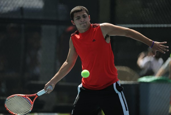 Bangor's Connor Griffin competes in the boys doubles tennis match against Gorham at Colby College on Saturday, June 9, 2012.