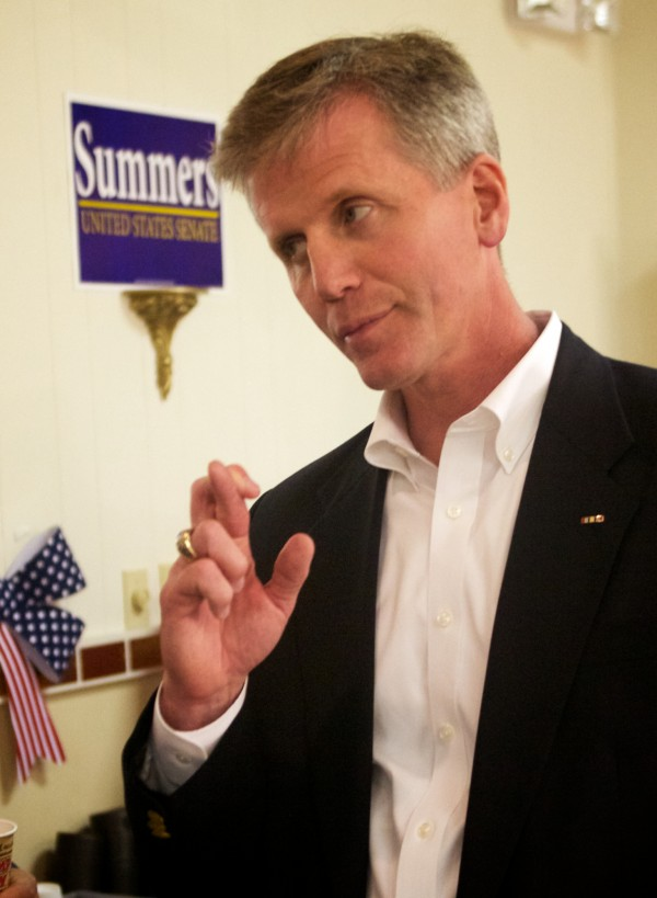 U.S. Senate Republican hopeful Charlie Summers keeps his fingers crossed at his headquarters in South Portland on Tuesday night June 12, 2012.