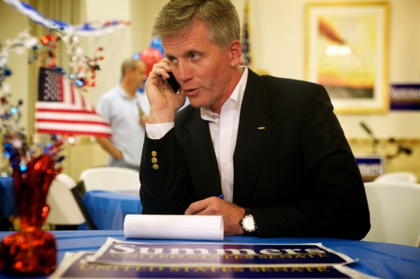 U.S. Senate republican hopeful Charlie Summers takes a call at his headquarters in South Portland on Tuesday.