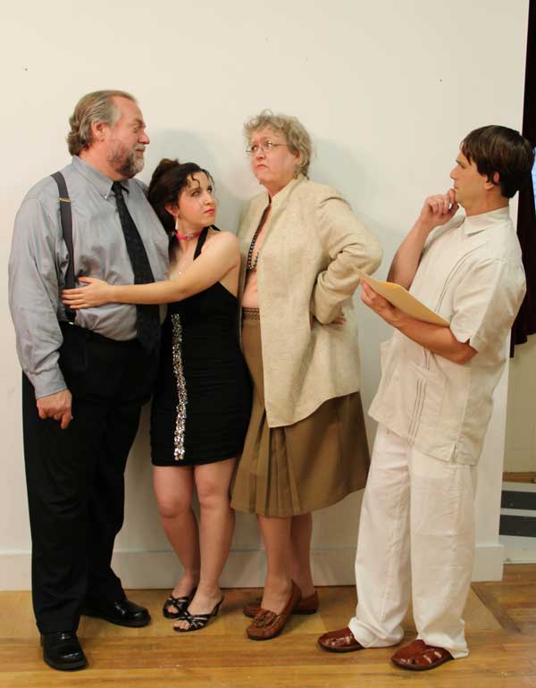 Stage East presents the romantic comedy &quotSylvia&quot by A. R. Gurney. Pictured L>R: Dan Butler (Greg), Kathleen Esposito (Sylvia), Ann Cornelison (Kate) and Anthony Giard (Leslie).
