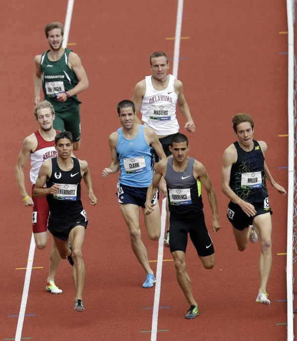 Athletes compete in the first heat of the men's 1,500 meters qualifying round at the U.S. Olympic Track and Field Trials on Thursday, June 28, 2012, in Eugene, Ore. Craig Miller (far right), David Torrence (center) and Matthew Centrowitz (left) finished first, second and third. Riley Masters of Bangor (rear, white jersey) finished eighth and failed to qualify for the finals.