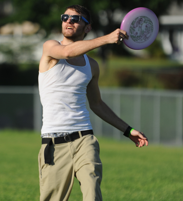 Marcus Amerson warms up before a game of Ultimate Frisbee in Bangor on Thursday, June 29, 2012.