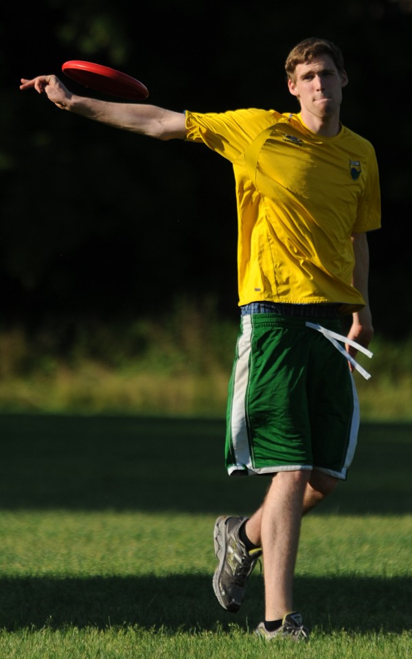 Kyle Harriman warms up before a game of Ultimate Frisbee in Bangor on Thursday, June 29, 2012.